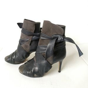 Isabel Marant Gray ankle boots heels leather